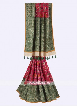 Rani and green color satin silk saree