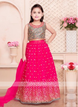 rani and grey color choli suit