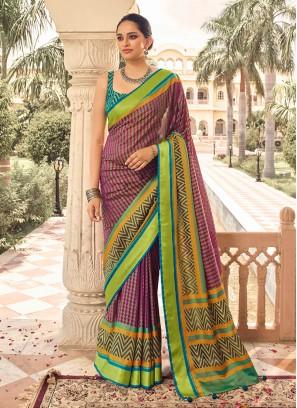 Rani And Mehndi Green Color Art Silk Saree