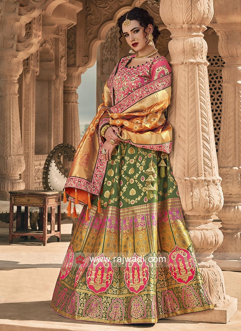 Rani and Multi color lehenga choli
