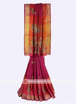 Rani and multi color pure silk saree
