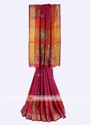 Rani and multi color pure silk saree