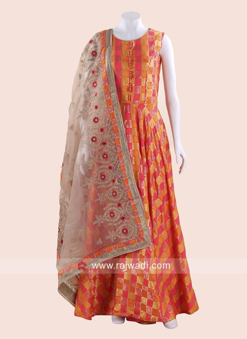 Rani and Orange Checks Anarkali Suit