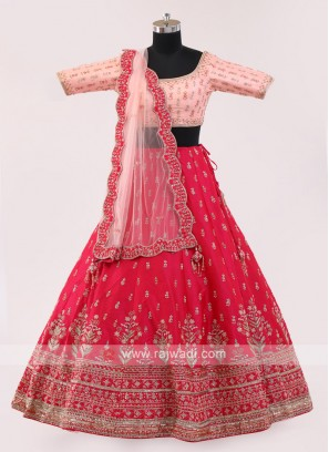 Rani And Peach Choli Suit
