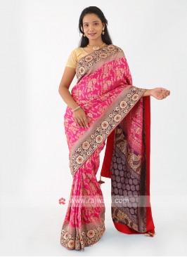 Rani And Purple Banarasi Silk Saree