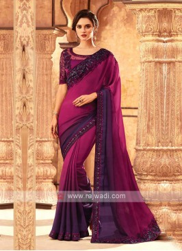 Rani And Purple Shaded Saree