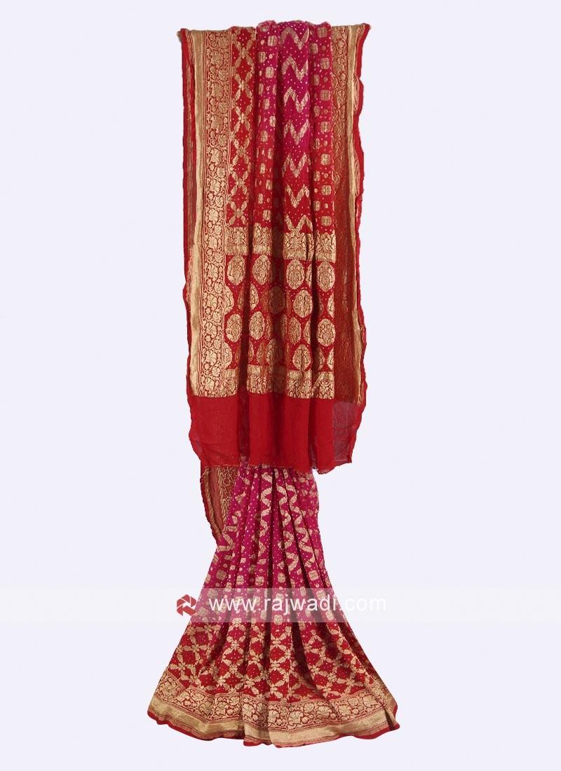 Rani and rust color chiffon saree