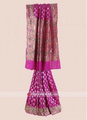 Rani Banarasi Silk Saree with Border