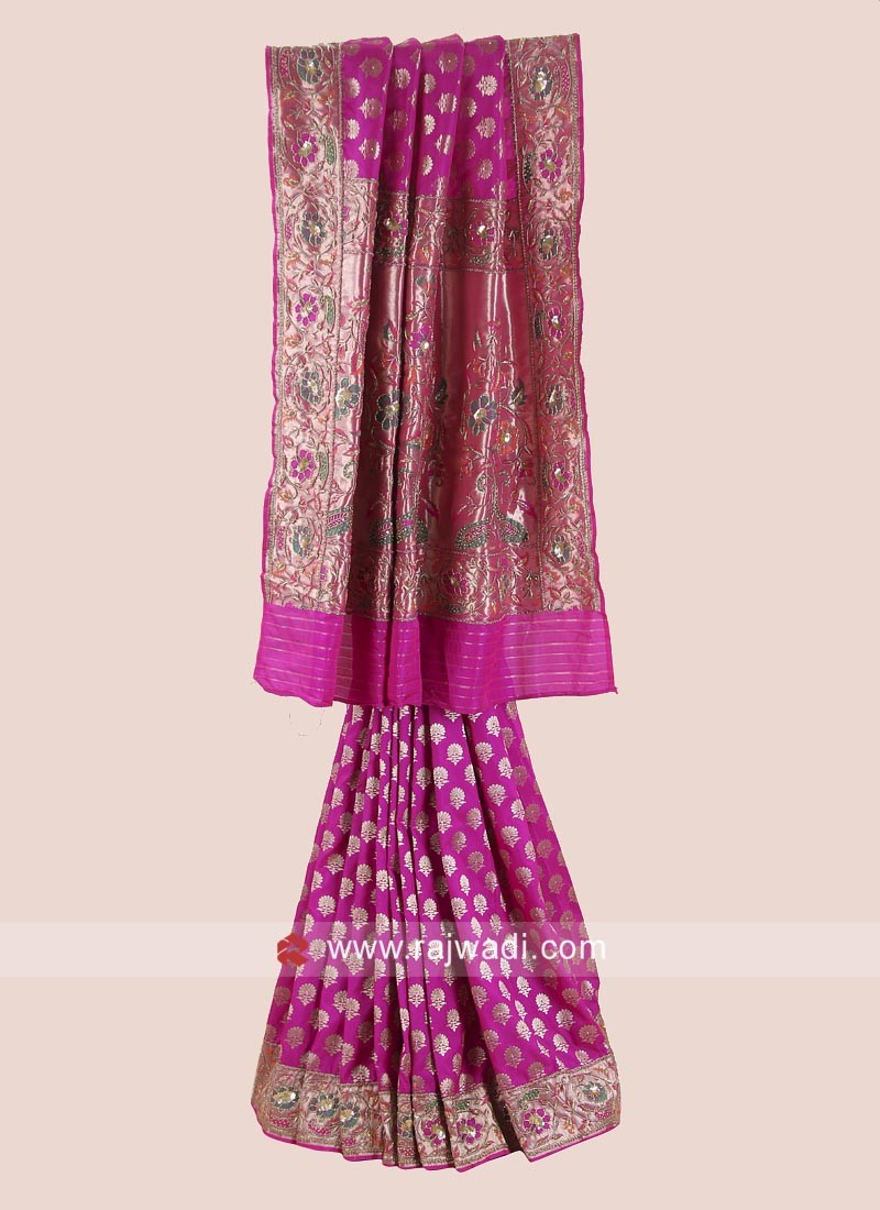 Rani Banarasi Silk Saree with Border