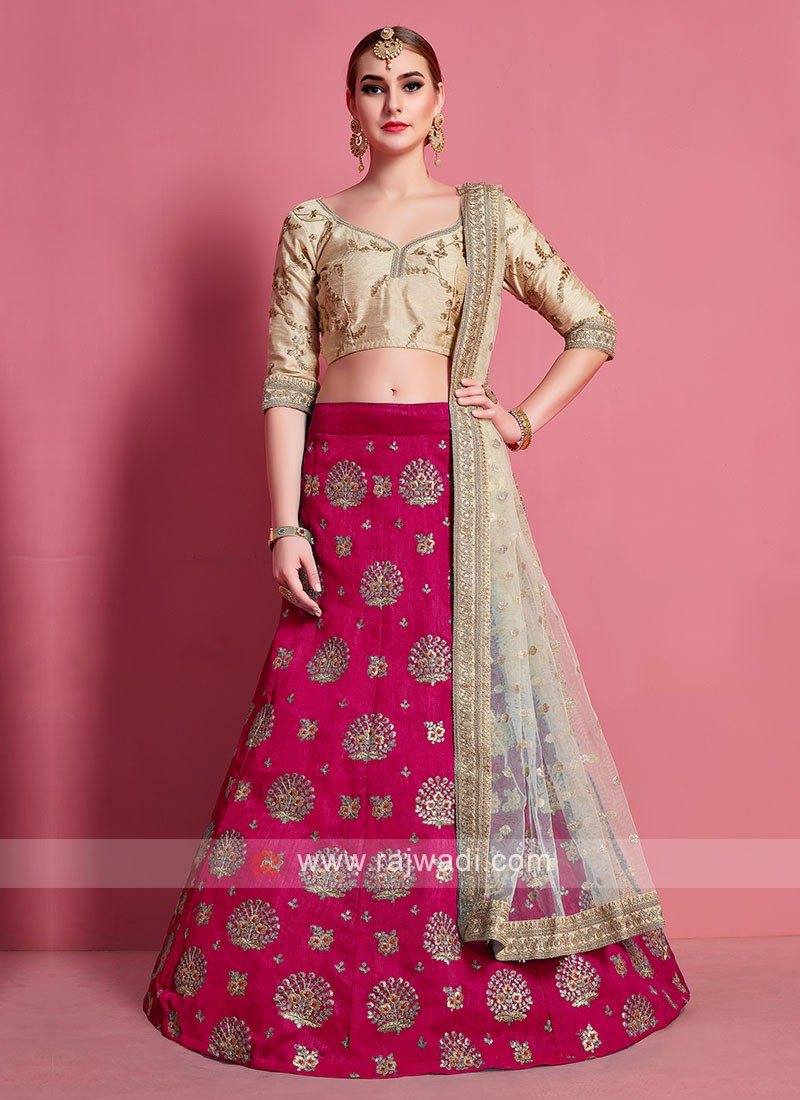 Rani & Beige Color Lehenga Choli
