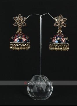 Rani & Blue Jhumka Earrings