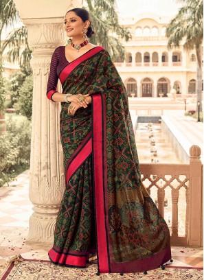 Rani Border Art Dola Silk Black Saree
