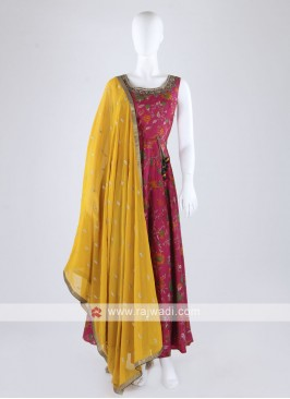 Rani Color Anarkali Suit With Contrast Dupatta