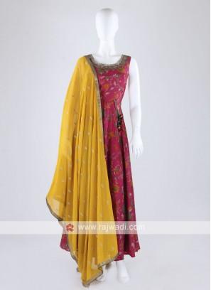 Rani Color Anarkali Suit With Contrast Dupatta
