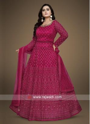 Rani Color Anarkali Suit with dupatta