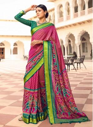 Rani Color Art Dola Silk Patola Saree           leheriya