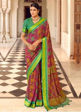 Rani Color Art Dola Silk Saree With Rama Green Blouse