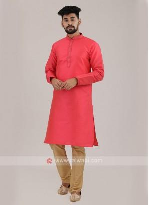 Gajari Pink Color Art Silk Kurta Pajama