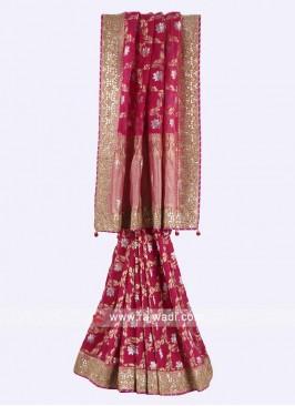 Rani color banarasi silk saree