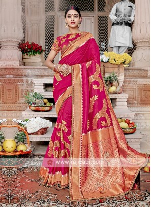 Rani Color Banarasi Silk Saree