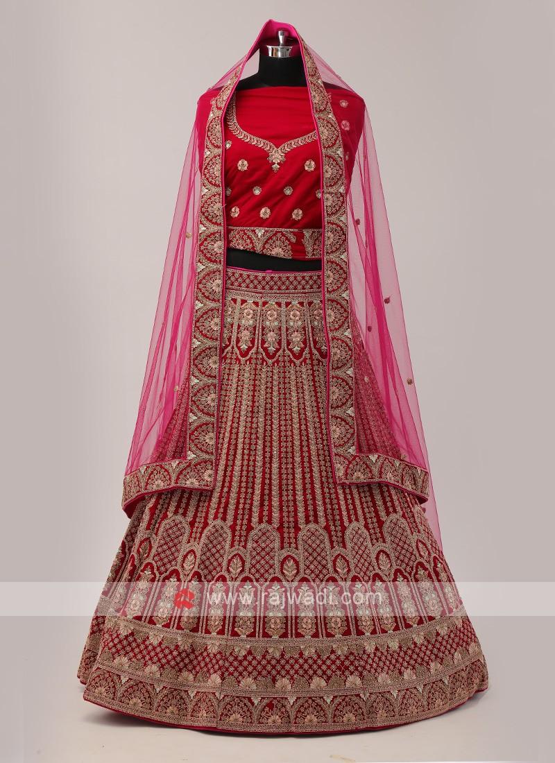 Rani Color Bridal Lehenga Choli