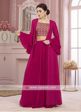 Rani color chiffon palazoo suit with koti