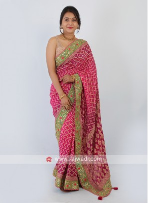Rani Color Chiffon Bandhai Saree