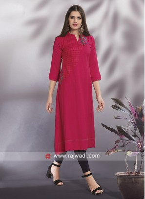 Rani Color Cotton Rayon Casual Kurti