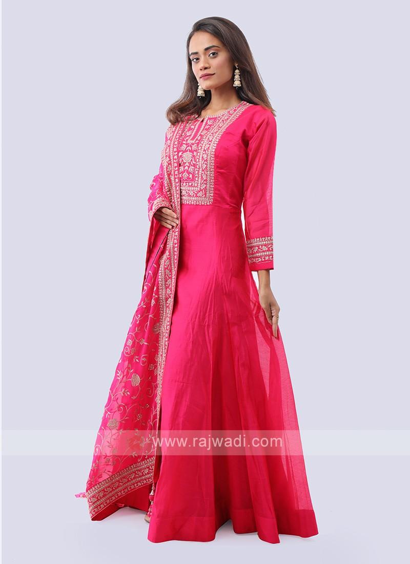 Rani color cotton silk anarkali suit