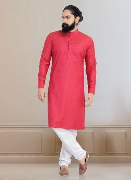 Rani And White Color Kurta Pajama