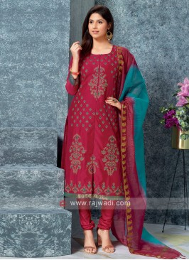Rani Color Kurta with Churidar & Dupatta
