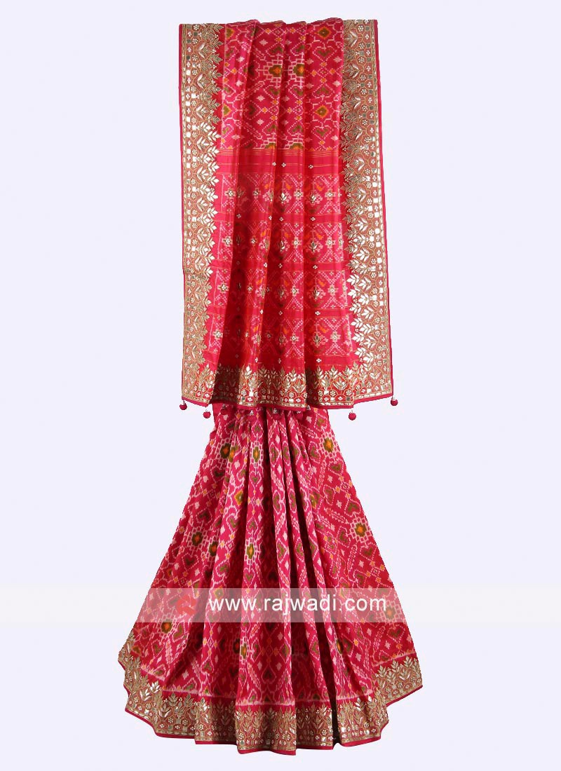 Rani color pure silk saree