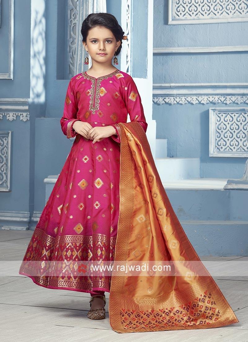 Rani color Silk Anarkali Suit