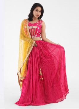 Rani Color Silk Lehenga Choli With Net Dupatta