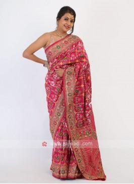 Rani Color Silk Saree