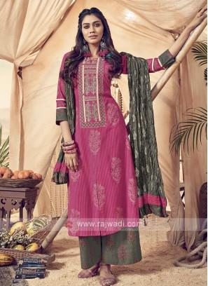 Shagufta Rani Color Cotton Palazzo Salwar Suit