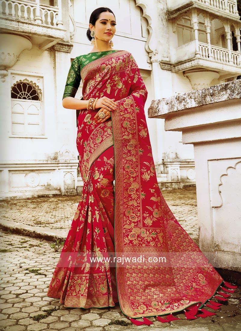 Rani Designer Saree with Green Blouse