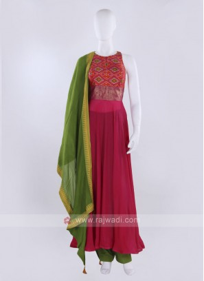 Rani & orange Anarkali Suit with dupatta