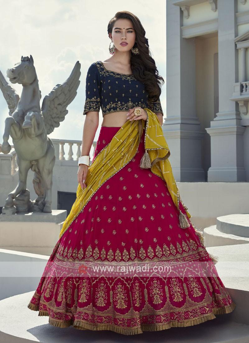 Rani & Royal blue chiffon and silk choli suit