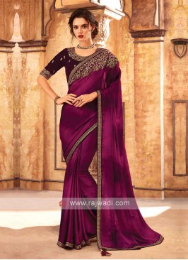 Rani Shaded Saree With Wine Color Blouse