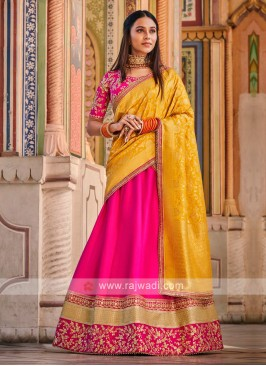 Rani & Yellow Color Lehenga Choli