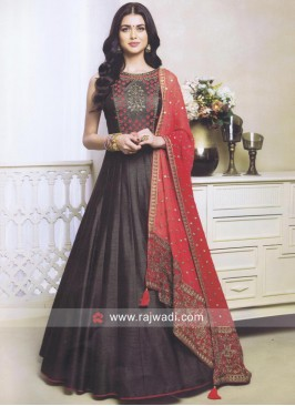 Raw Silk Anarkali Dress in Dark Grey
