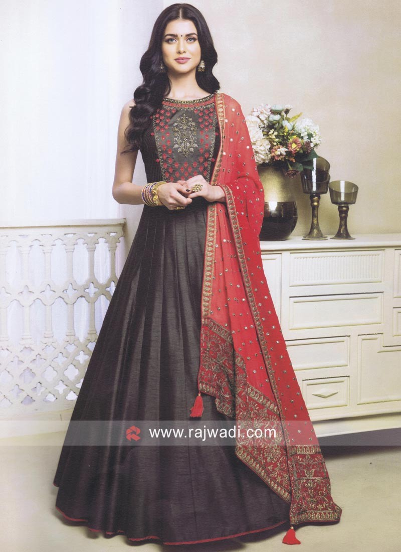 511266620a Raw Silk Anarkali Dress in Dark Grey. Hover to zoom