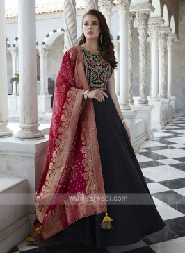 Raw Silk Anarkali Suit in Black