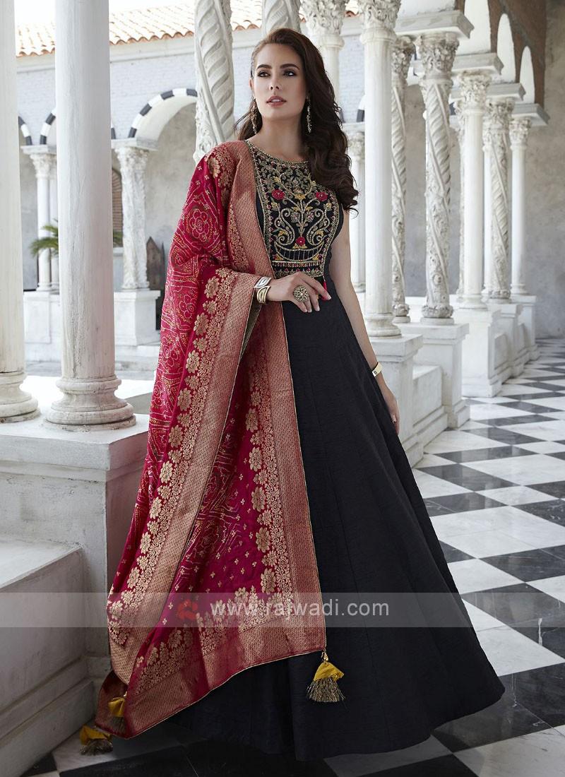 Raw Silk Anarkali Suit in Black
