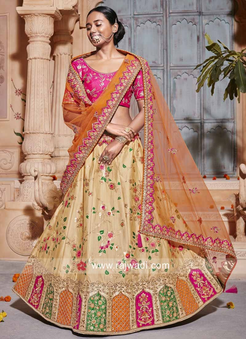 Raw Silk and Brocade Wedding Lehenga