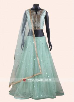 Raw Silk and Net Designer Lehenga Choli