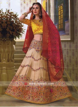 Raw Silk and Silk Lehenga Set