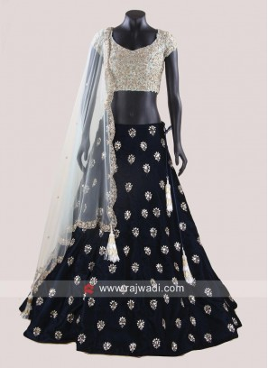 Raw Silk and Velvet Choli Suit