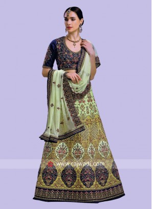 Raw Silk and Velvet Designer Lehenga Choli
